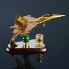 Набор настольный 3в1 (самолёт, часы, подставка для ручек) 31х11х21 см, микс