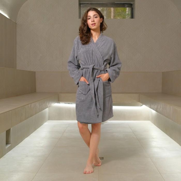 Халат махровый Экономь и Я, женский р-р 50-52, цвет серый, 340 г/м², хл.100% с AIRO