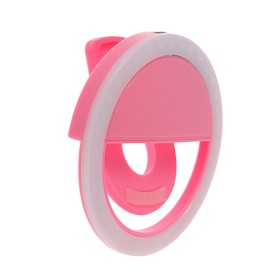 Светодиодная кольцевая лампа для телефона LuazON AKS-06, 3 режима, 80 мАч, розовая Ош