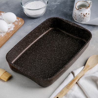 Противень KUKMARA, 33,5×22×5,5 см, антипригарное покрытие, цвет кофейный мрамор