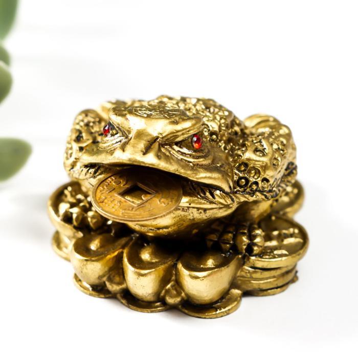 Нэцке полистоун бронза Денежная жаба на монетах со слитками золота 3х4х5 см