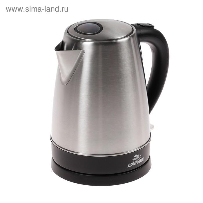 """Чайник электрический """"Добрыня"""" DO-1213, 2200 Вт, 1.8 л, металл, серебристый"""