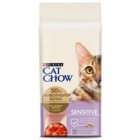 Сухой корм CAT CHOW для кошек с чувствительной кожей и пищеварением, лосось/рис, 15 кг