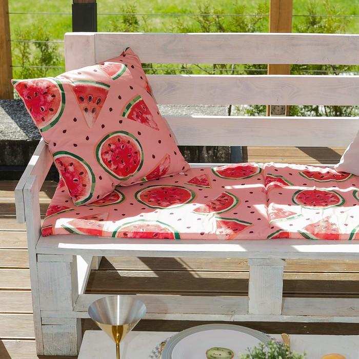 Декоративная подушка уличная «Этель» Арбузы, 45×45 см, репс с пропиткой ВМГО, 100% хлопок