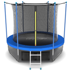 Батут EVO JUMP Internal 8 ft, d=244 см, с внутренней сеткой, нижней сеткой и лестницей, синий Ош