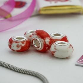 Бусина 'Эскиз', цвет бело-красный Ош