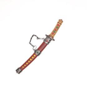 Сувенирное оружие «Катана на подставке», ромбы на рукоятке, коричневые ножны с жёлтыми ромбами Ош