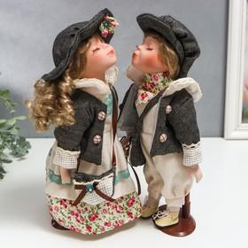 Кукла коллекционная парочка поцелуй набор 2 шт 'Галя и Сева в серых курточках' 30 см Ош