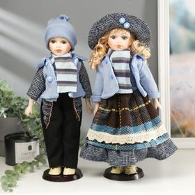 Кукла коллекционная парочка набор 2 шт 'Алёна и Андрей в полосатых шарфиках' 40 см Ош