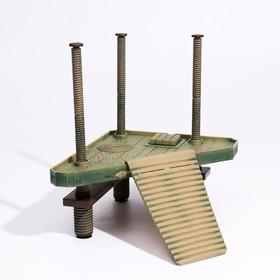 Платформа для черепах на регулируемых опорах с плавающим мостиком (мостик 29 х 24 см)