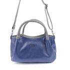 Сумка женская, наружный карман, плечевой ремень, синий флотер