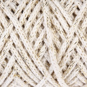 Шнур для вязания 3мм, 97% хлопок, 3% люрекс  50м/100гр (молочный/золот. люрекс)