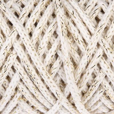 Шнур для вязания 3мм, 97% хлопок, 3% люрекс  50м/100гр (молочный/золот. люрекс) - Фото 1