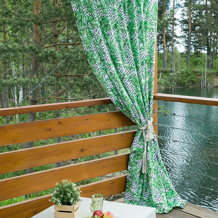 Портьера для террасы Этель «Геометрия», 200 × 210 см, репс с пропиткой ВМГО, 100%-ный хлопок