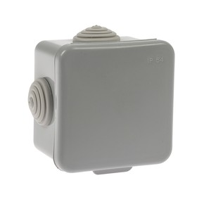 Коробка распределительная TUNDRA, 65х65х45 мм, IP54, для открытой установки, серый Ош