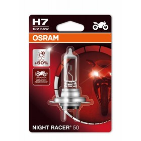 Лампа для мотоциклов OSRAM, 12 В, H7, 55 Вт, Night Racer, +50% света, 1 шт, блистер Ош