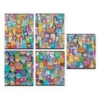Тетрадь 48 листов клетка «Мордашки», обложка мелованный картон, конгрев, выборочный лак, 5 видов МИКС