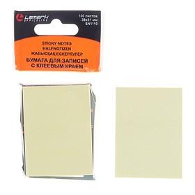 Блок с липким краем, 100 листов, 38 х 51 мм, Lamark, пастель жёлтая Ош