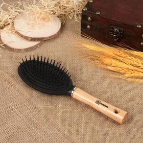 Расчёска массажная с деревянной ручкой, 7 × 23,5 см, цвет «светлое дерево», 218W.9551E