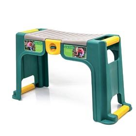 Скамейка-перевёртыш садовая, 58 × 24 × 30 см, макс. нагрузка 100 кг, зелёная Ош
