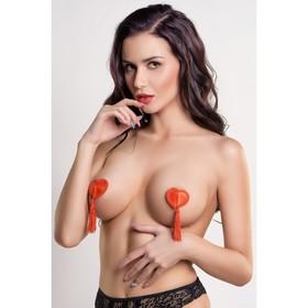Пэстис в форме сердец Erolanta Lingerie Collection, с кисточками, тканевые, красные Ош