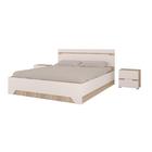Спальня «Анталия», МДФ, кровать 160 см, основание, 2 тумбы, цвет сономо, белый софт