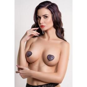 Пэстис в форме сердец Erolanta Lingerie Collection, со стразами и цепочкой, чёрно-розовые Ош
