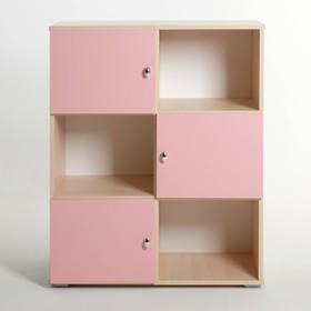 Шкаф «Алёнка», 810 × 1020 × 420, Дуб молочный/Розовый Ош