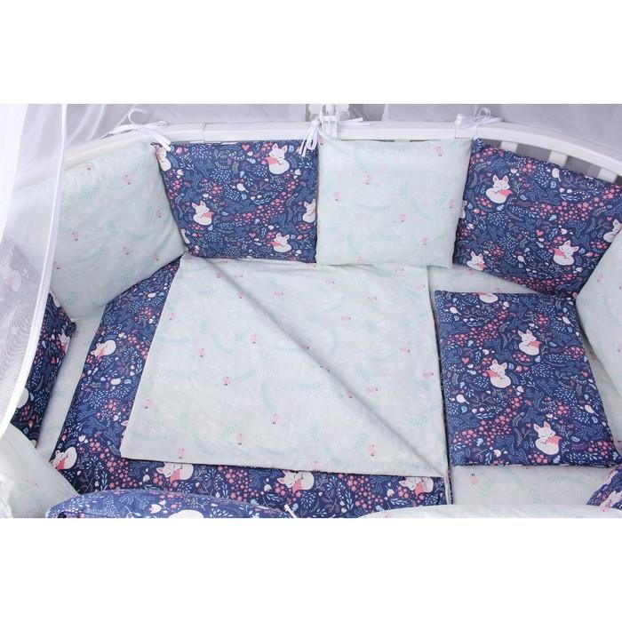 Борт в кроватку WB, 12 предметов, цвет синий, принт лисички