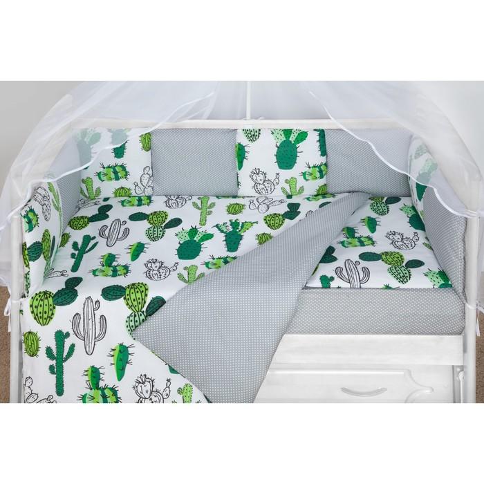 Борт в кроватку WB, 12 предметов, цвет белый, принт кактусы