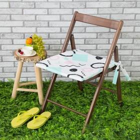 Подушка на стул уличная «Этель» Квадраты, 45×45 см, репс с пропиткой ВМГО, 100% хлопок Ош