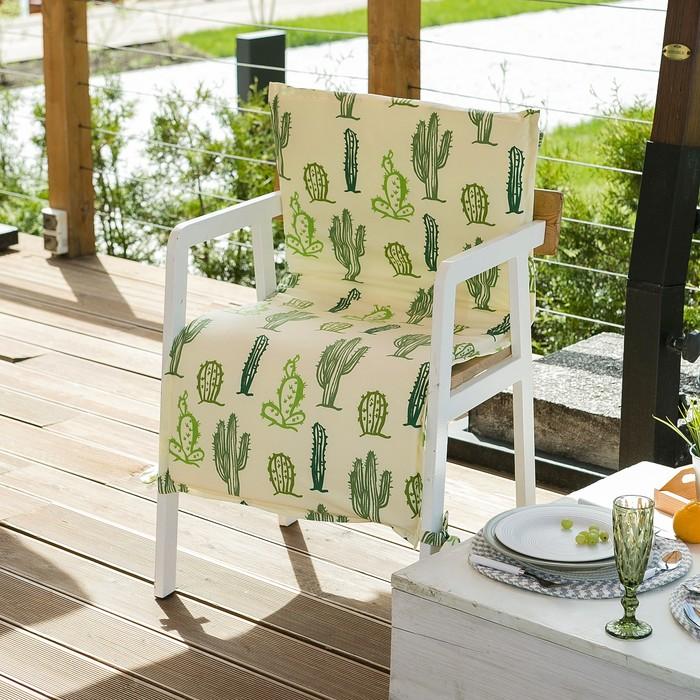 Подушка на уличное кресло «Этель» Кактусы, 50×100+2 см, репс с пропиткой ВМГО, 100% хлопок