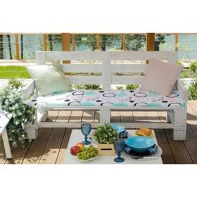 Подушка на трехместную скамейку «Этель» Квадраты, 45×150 см, репс с пропиткой ВМГО, 100% хлопок Ош