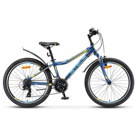 "Велосипед 24"" Stels Navigator-410 V, V010, цвет тёмно-синий/жёлтый, размер 12"""