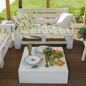 Подушка на трехместную скамейку «Этель» Кактусы, 45×150 см, репс с пропиткой ВМГО, 100% хлопок Ош