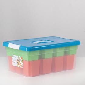 Контейнер для хранения с крышкой Kid's Box, 10 л, 37×25×16 см, 12 вставок, 2 лотка, цвет МИКС