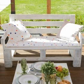 Подушка на трехместную скамейку «Этель» Треугольники, 45×150 см, репс с пропиткой ВМГО, 100% хл Ош