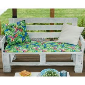 Подушка на трехместную скамейку «Этель» Попугай, 45×150 см, репс с пропиткой ВМГО, 100% хлопок Ош