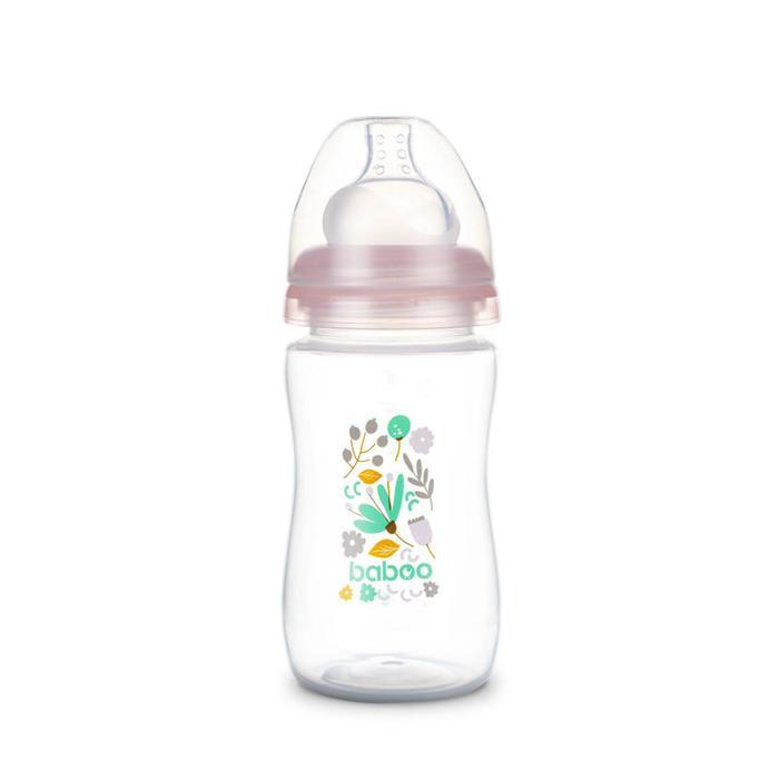 Бутылочка BABOO с силиконовой соской, широкая, 230 мл, Flora, от 3 месяцев