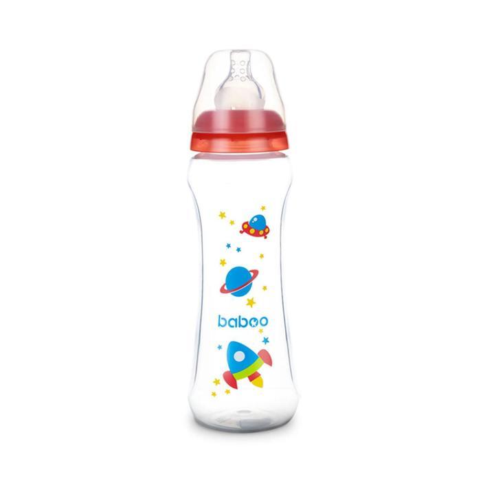 Бутылочка BABOO с силиконовой соской, узкая, 330 мл, Space, от 3 месяцев
