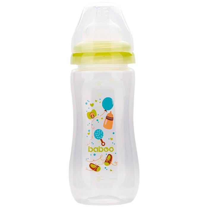 Бутылочка BABOO с силиконовой соской, широкая, 330 мл, Baby Shower, от 3 месяцев