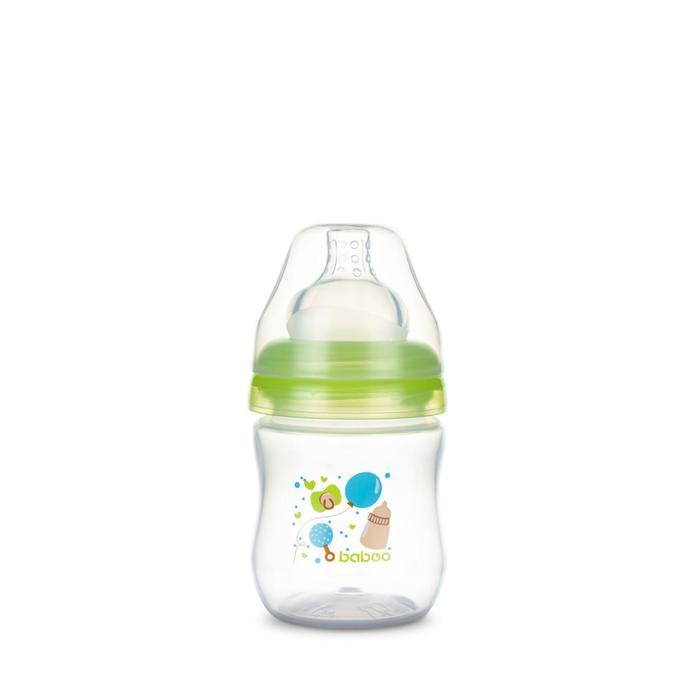 Бутылочка BABOO с силиконовой соской, широкая, 130 мл, Baby Shower, от 0 месяцев