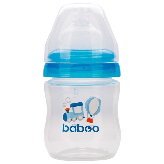 Бутылочка BABOO с силиконовой соской, широкая, 130 мл, Transport , от 0 месяцев