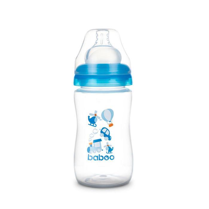 Бутылочка BABOO с силиконовой соской, широкая, 230 мл, Transport, от 3 месяцев