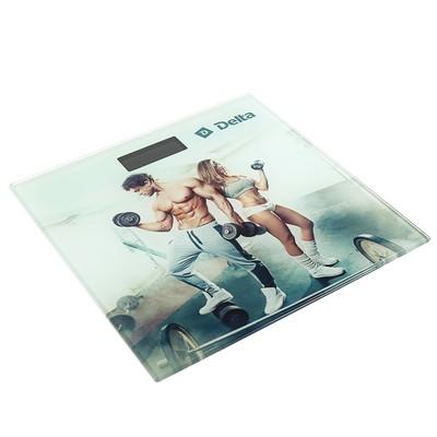 """Весы напольные DELTA D-9304, электронные, до 180 кг, 2хААА, стекло, картинка """"тренировка"""" - Фото 1"""