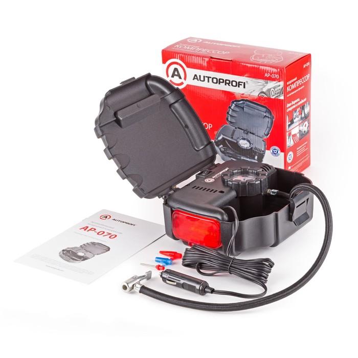 Компрессор автомобильный Autoprofi, 7 Атм, 12 л.мин, шланг 0.5 м, сигнальный фонарь,