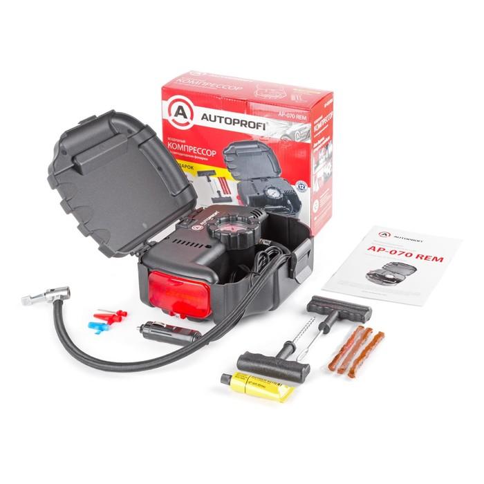 Компрессор автомобильный AUTOPROFI, 7 Атм., 12 л.мин., шланг 0.5 м, комплект для ремонта бескамерных шин