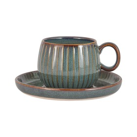 Чашка с блюдцем Comet, цвет морская волна, 180 мл