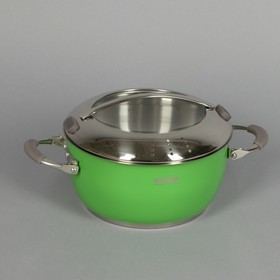 Кастрюля Kvetunka, 2,8 л, d=20 см, стеклянная крышка, цвет зелёный