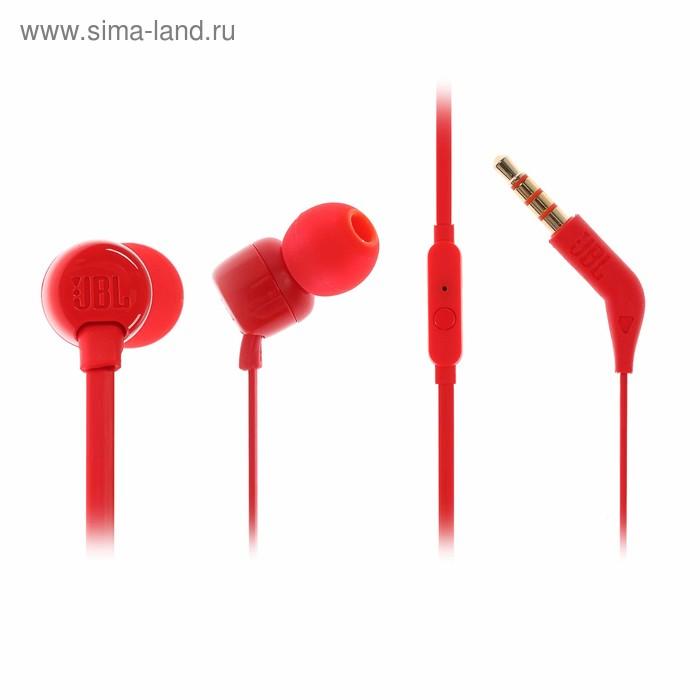 Наушники с микрофоном JBLT110, вакуумные, красные